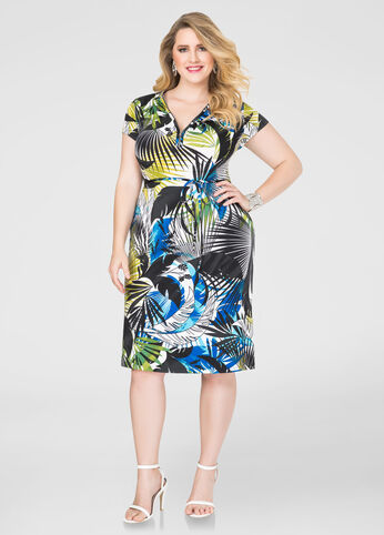 Leaf Print Zip Front Dress