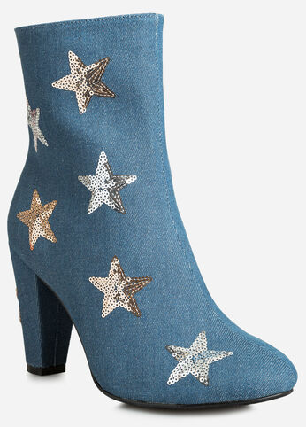 Sequin Stars Denim Bootie - Wide Width - Shoes