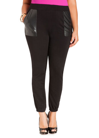 Faux Leather Pocket Jogging Pants