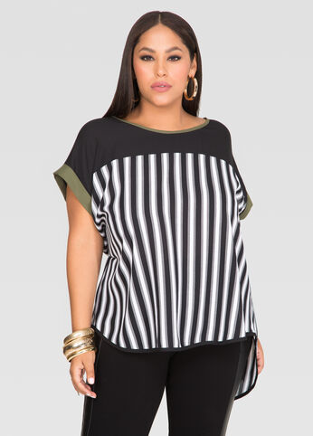 Striped Cross Back Tee