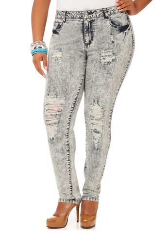 Destructed Acid Wash Skinny Jeans