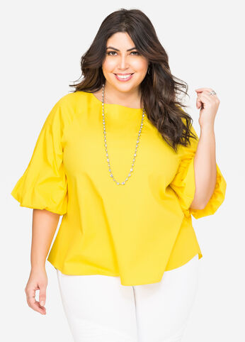 Balloon Sleeve Poplin Tunic