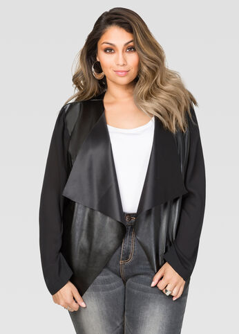 Sheer Sleeve Faux Leather Jacket