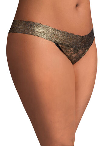 Low Rise Lace Foil Thong
