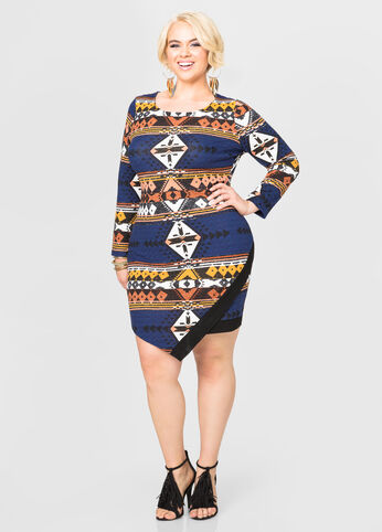 Tribal Print Envelope Hem Dress
