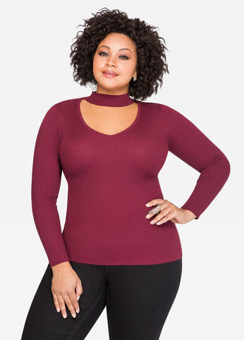 Ribbed Fitted Mock Neck Sweater