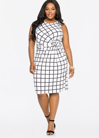 Windowpane Knot Waist Dress