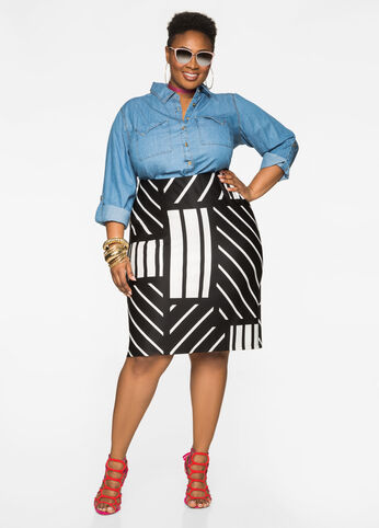 Box Print Pencil Skirt