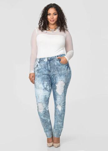 Acid Wash Destructed Skinny Jean