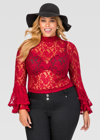 Ruffle Sleeve Allover Lace Top