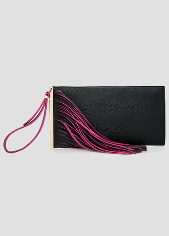 Fringe Wristlet Bar Clutch