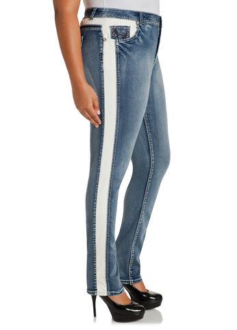 Faux Leather Stripe Skinny Jeans