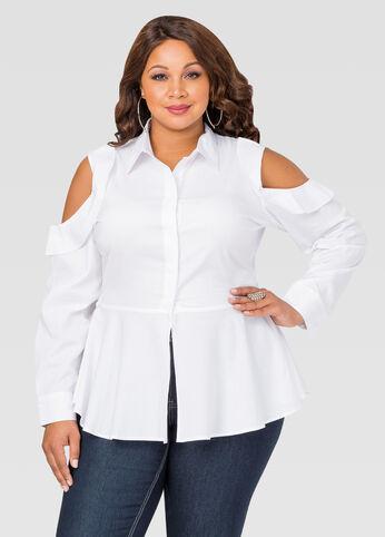 Ruffle Cold Shoulder Peplum Shirt