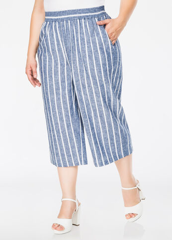 Striped Linen Culotte Pants