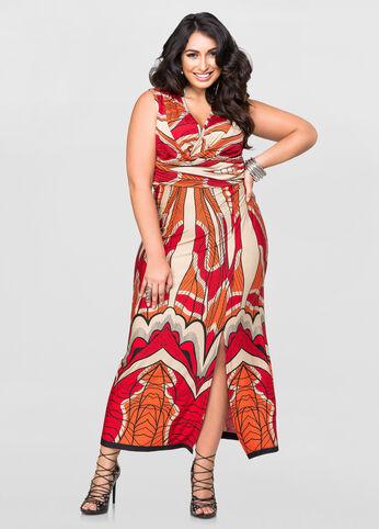 Side Slit Deep V Maxi Dress