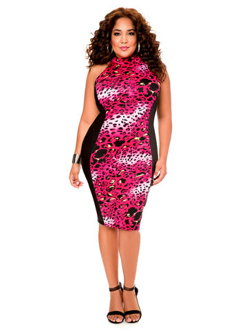 Animal Print Mock Neck Dress