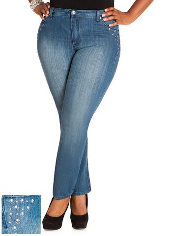 Rhinestone Denim Pants