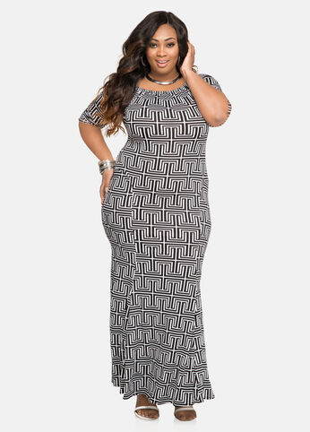 Geo Print Mermaid Maxi Dress