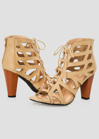 OPEN LACE UP BOOTIE - Wide Width