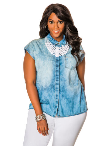 Cap sleeve Chambray Denim Shirt