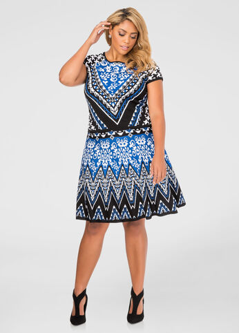 Geo Jacquard Flippy Skirt
