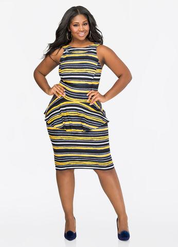 Striped Halter Peplum Dress