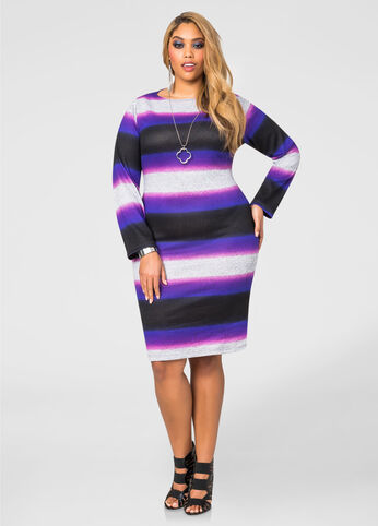 Hacci Stripe Sweater Dress