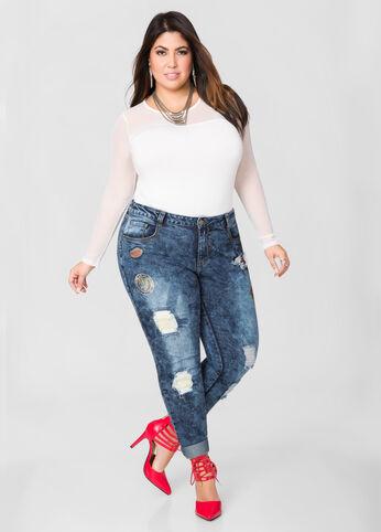 Novelty Patch Destructed Skinny Jeans