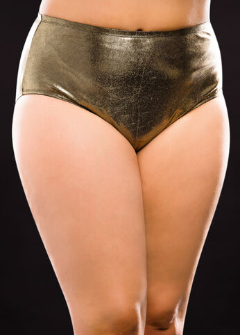 Gold High Waist Bikini Bottom