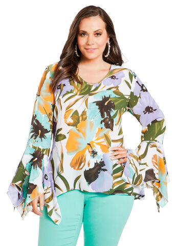 Floral V-Neck Tunic Top