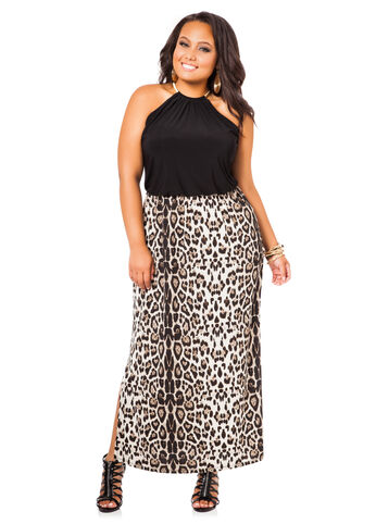 Plus Size Maxi Dress -  Gold Chain Halter Maxi Dress