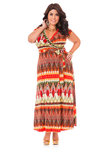 Plus Size Maxi Dress -  Tribal Surplice Maxi Dress