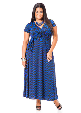 Plus Size Maxi Dress -  Surplice Geometric Print Maxi Dress