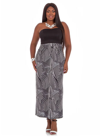 Plus Size Maxi Dress -  Print Tube Top Strapless Maxi Dress