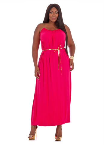 Plus Size Maxi Dress -  Solid Gold Braid Maxi Dress