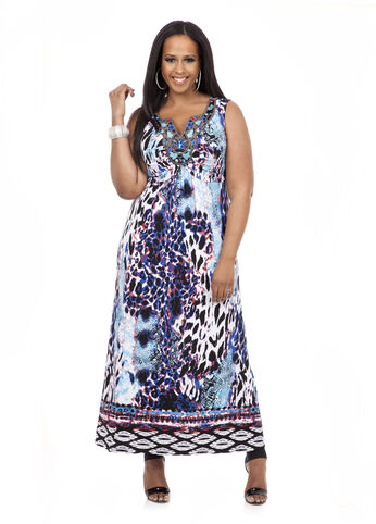 Plus Size Maxi Dress -  Beaded-Neck Animal Print Maxi Dress