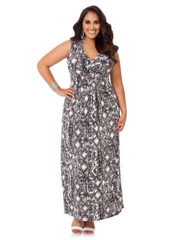 Plus Size Maxi Dress -  Tie Neck Printed Maxi Dress