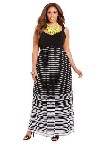Pin-Tuck Top Striped Maxi Dress