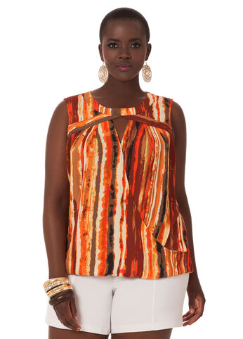 Tribal Print Sleeveless Wrap Top