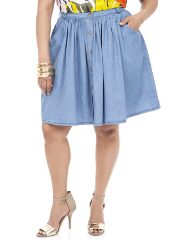 Front Button Swing Skirt