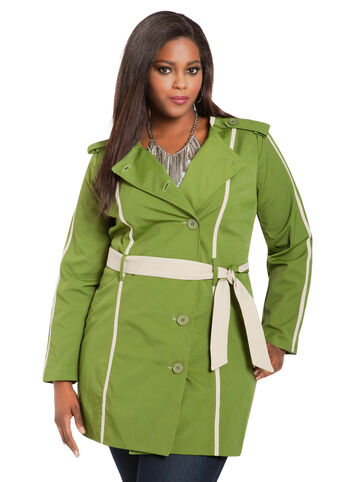 Contrast Trim Canvas Trench Coat