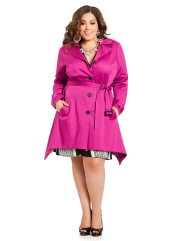Sateen Shark Bite Trench Coat