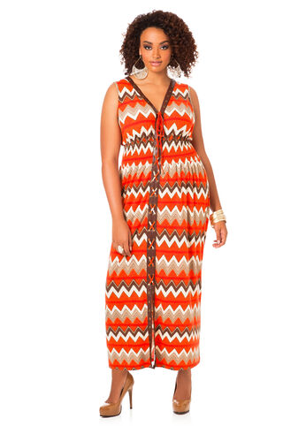 Plus Size Maxi Dress -  Lace-Up Printed Maxi Dress
