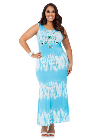 Plus Size Maxi Dress -  Tie Dye Stone Trim Maxi Dress