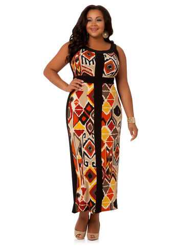 Plus Size Maxi Dress -  Aztec Panel Maxi Dress