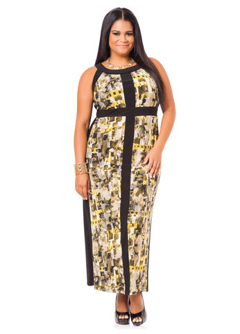 Plus Size Maxi Dress -  Camo Patterned Maxi Dress