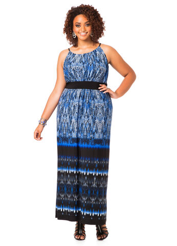 Plus Size Maxi Dress -  Snake Print Maxi Dress