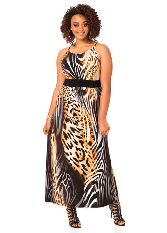 Plus Size Maxi Dress -  Animal Print Maxi Dress