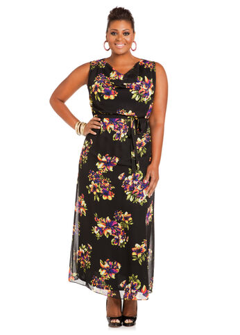 Plus Size Maxi Dress -  Drape-Neck Floral Maxi Dress