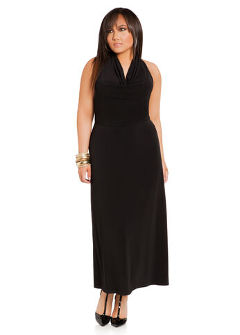 Plus Size Maxi Dress -  Drape Neck Halter Maxi Dress